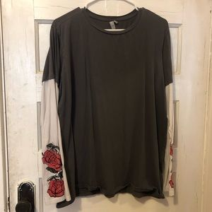 ASOS Long Sleeve Tee w/ Rose Embroidery